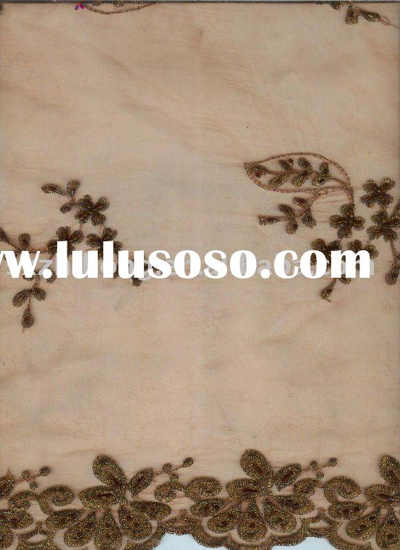 handwork embroidery fabric for bridal dress
