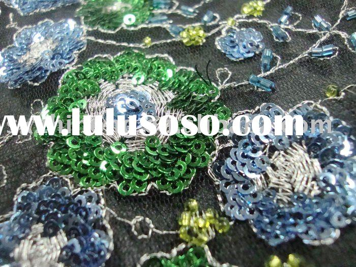 handwork embroidery fabric with 3mm spangle on 100% polyester net ground