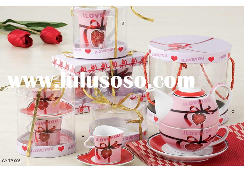heart shape tea set: cup and saucer and mug and tea pot for valentine. Item No.: GY-TP-006