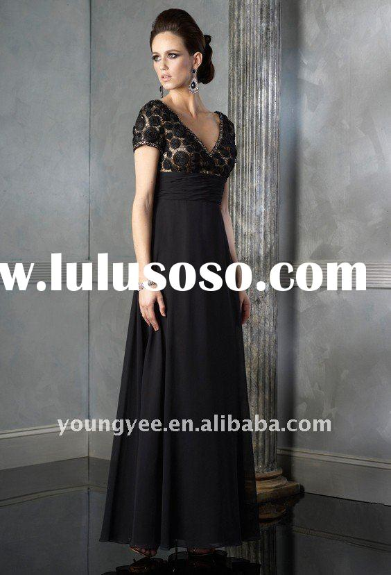 high quality chiffon short sleeve formal evening dress, women's evening dress designer