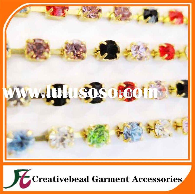 high quality mix color rhinestone cup chain