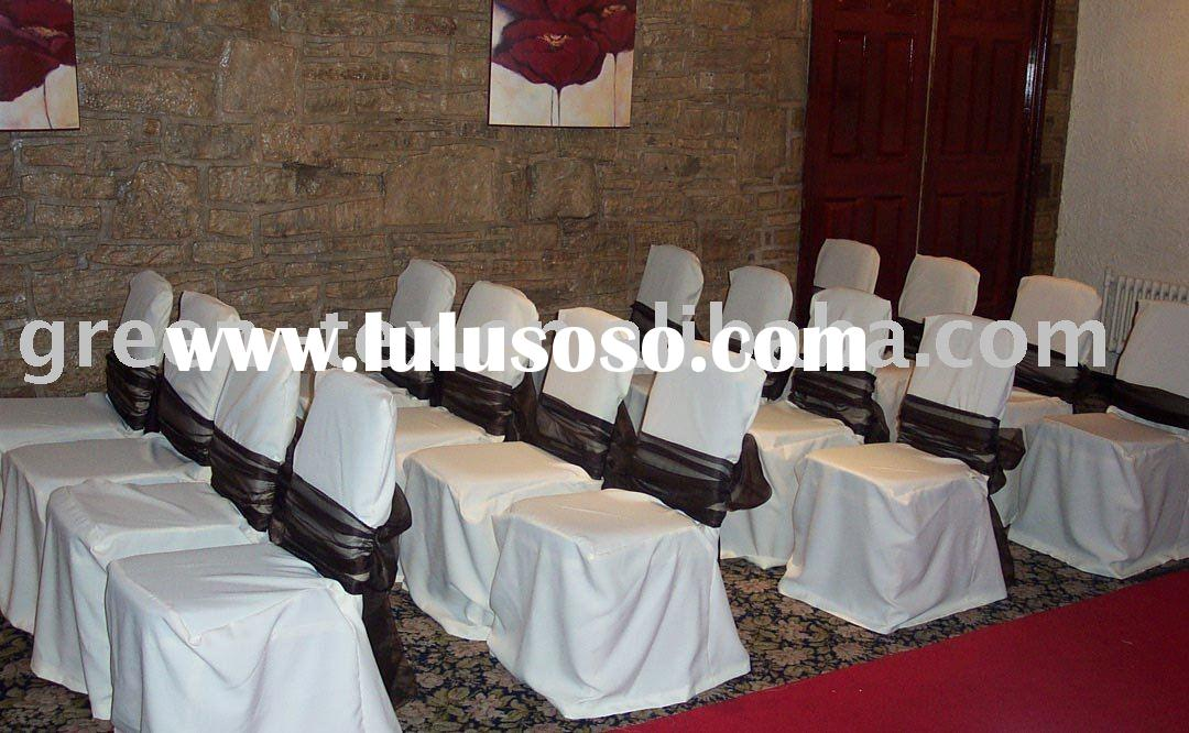 high quality poly plain chair covers and sashes for wedding