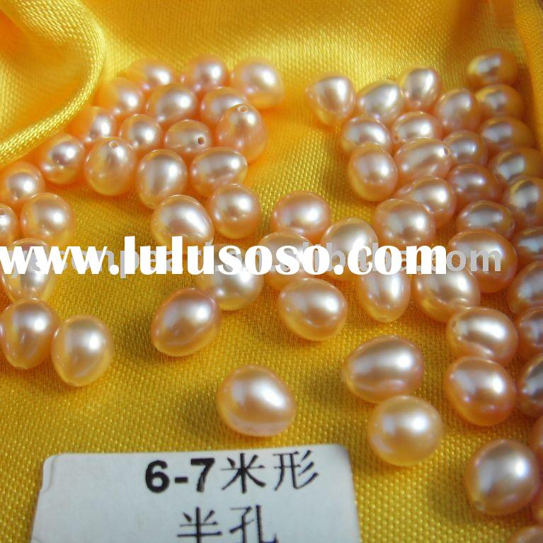 hot sale wholesale 6.0-7.0mm half-drilled rice/teardrop loose freshwater pearl