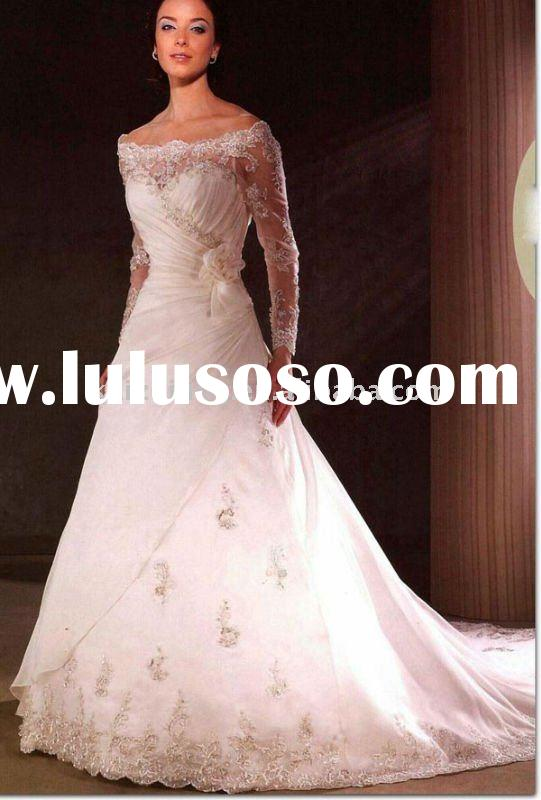 lace long sleeves pink train wedding dress 2011 custom made bridal dress