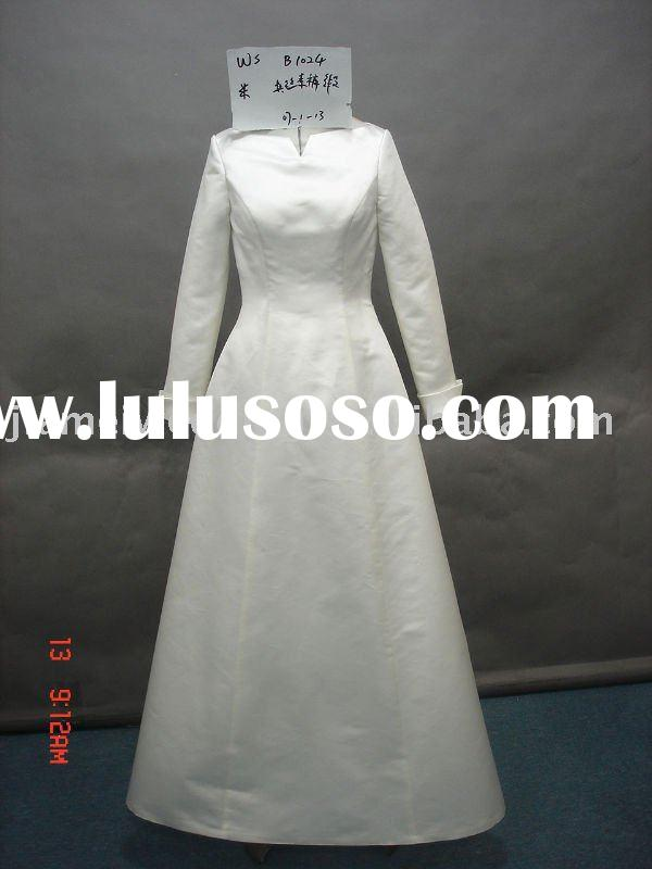 latest ivory long sleeve modern muslim bride dress,bridal wedding gowns Model B1021