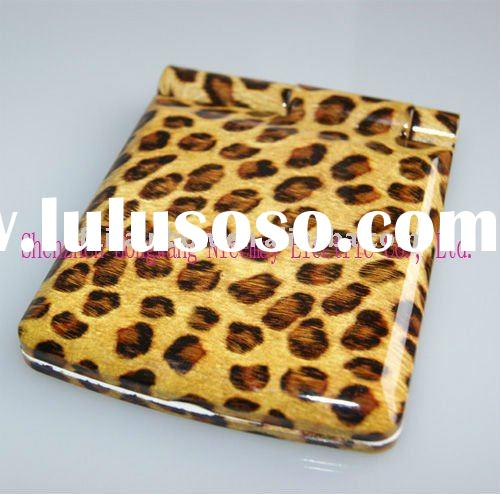 leopard foldable cosmetic mirror with led light