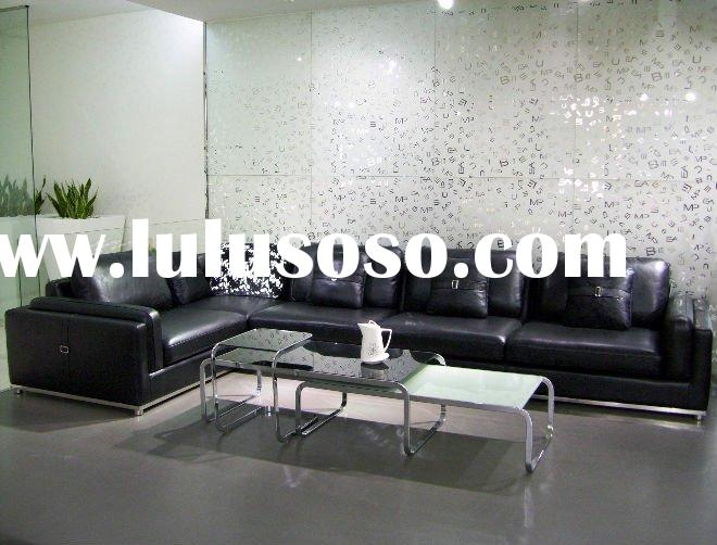 modern geniune leather sofa for living room, leather living room sofa, black leather sofa