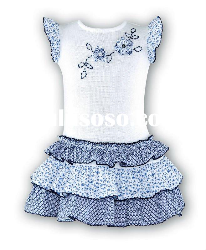 o-neck sleeveless printed and embroidery kid cotton frocks