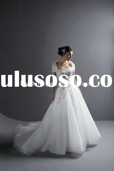 organza short sleeve open back custom made wedding gown lace wedding dress 2011