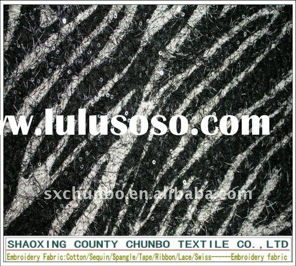polyester plush printed and 3mmsequin embroidery fabric
