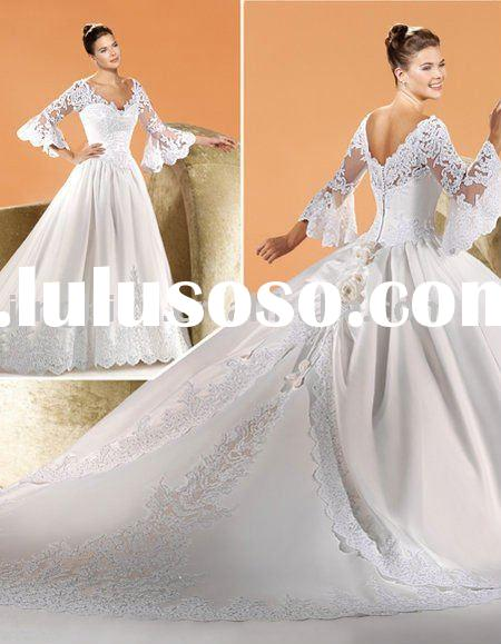 princess satin deep V long lace sleeves wedding dress with long train HS672