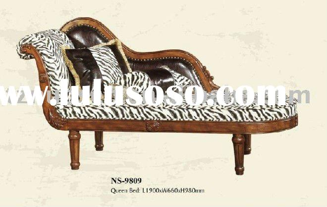 queen carved oak wood bed bench NS-9809