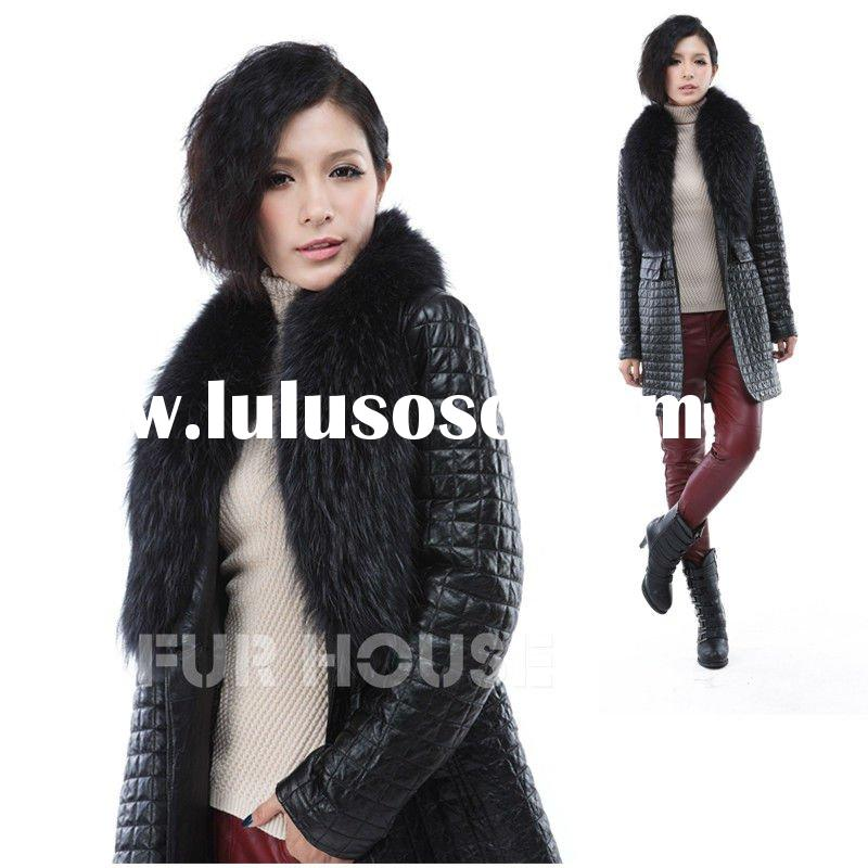 raccoon dog fur collar,real leather,sheepskin leather long coat,women's overcoat