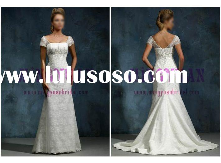 romantic appliqued lace cover satin cap sleeve wedding dress w2038
