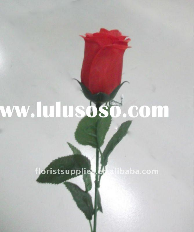 single rose/ artificial silk flower/single stem/new design artificial flower lifelike single rose