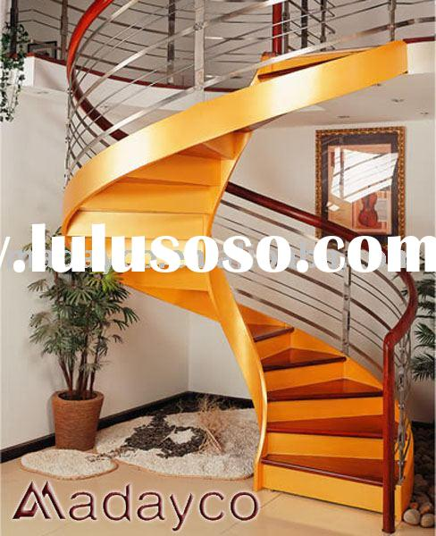spiral wood steel stairs