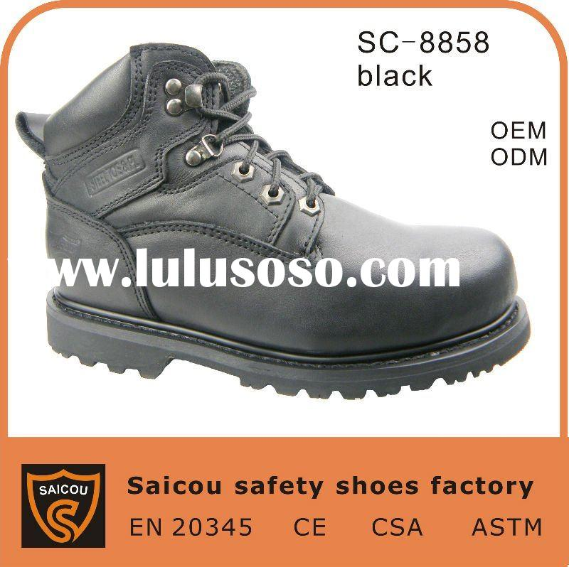 steel toe cap work boots leather factory (SC-8858)