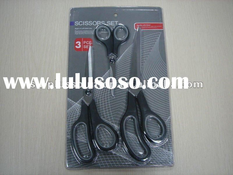 stock lots 3pc stainless steel craft/sewing/household scissors set in double blister card packing