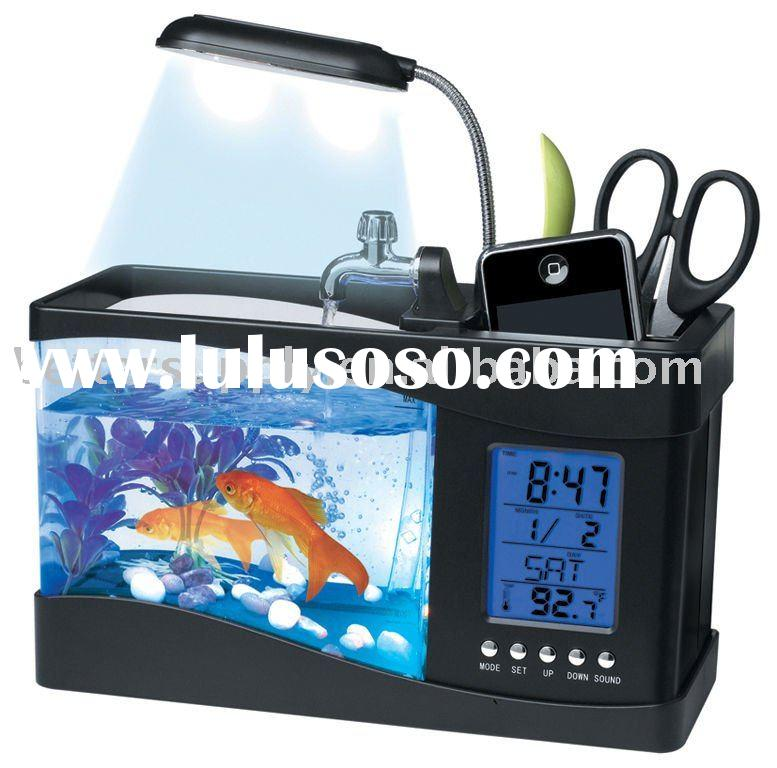 table glass aquarium mini usb fish tank with calendar and pen holder function BS-D1126