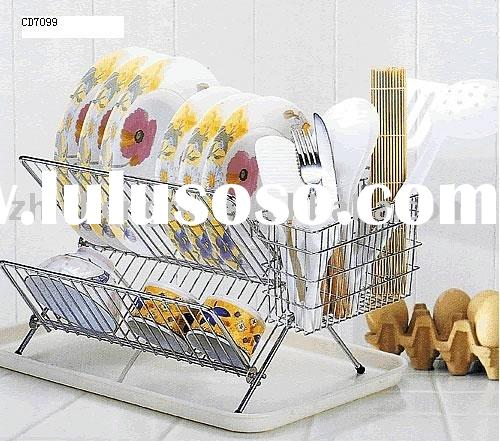 two layer metal folding dish rack with tray
