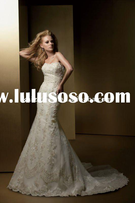 unique mermaid lace strapless long train 2011 bridal wedding dress wedding gown