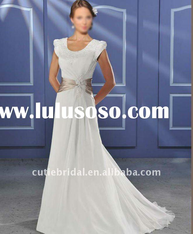 wedding gowns with short sleeves ,short sleeves bridal gowns R011