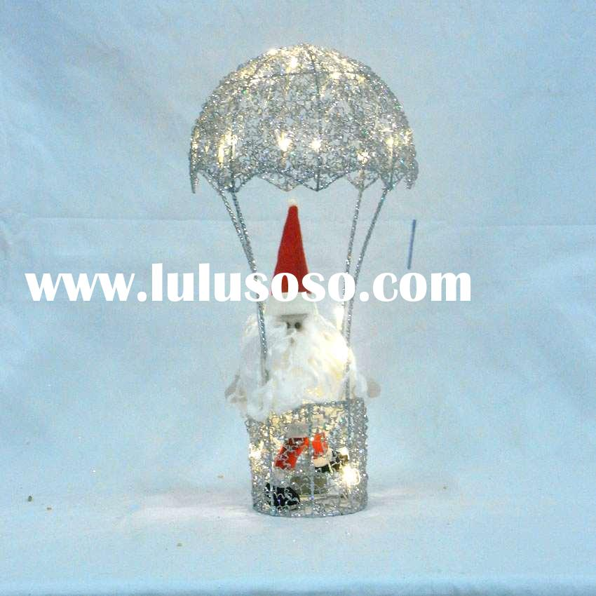 wire hot-air balloon with santa claus and LED lights controlled by battery