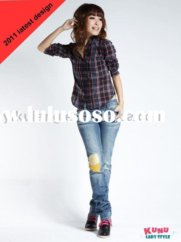 women's fashion jeans insert leather patch on knee
