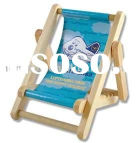 wooden beach chair shaped cell phone holder