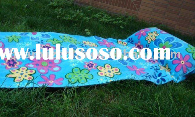 100% reactive printed beach towel with inflatable PVC pillow