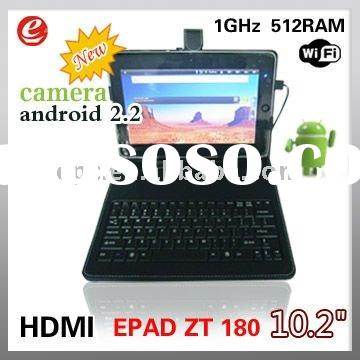 10.2 inch ZT-180 ZEPAD tablet pc android 2.2 HDMI Camera 512MB 4GB