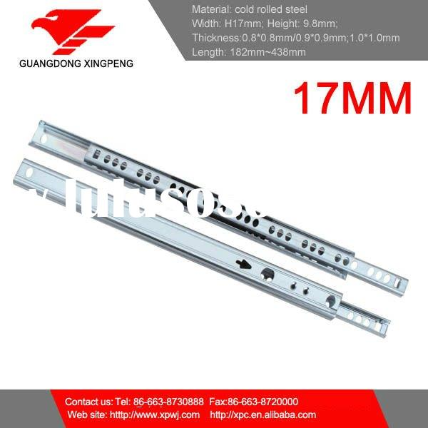 17mm telescopic drawer slide with 0.9/0.9/0.9mm thickness