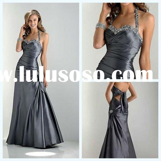 2011 Fashion Halter A-line Sleeveless Backless Beaded Flower Pleated Taffeta Prom Dresses Made in Ch