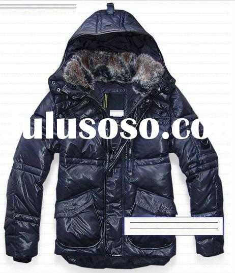 2011 hotsale man down hooded jackets, rabbit long sleeve down jacket for males male hooded down jack