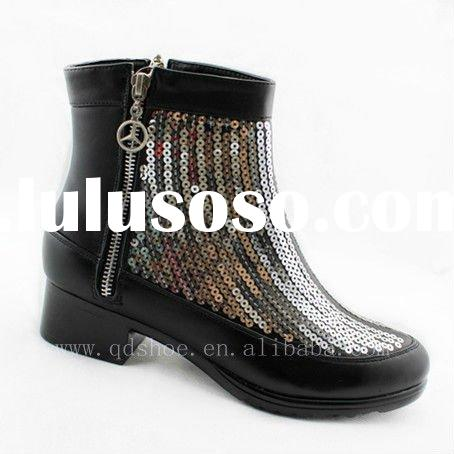 2011 lady new style fashion woman pu zipper sequin ankle winter boots