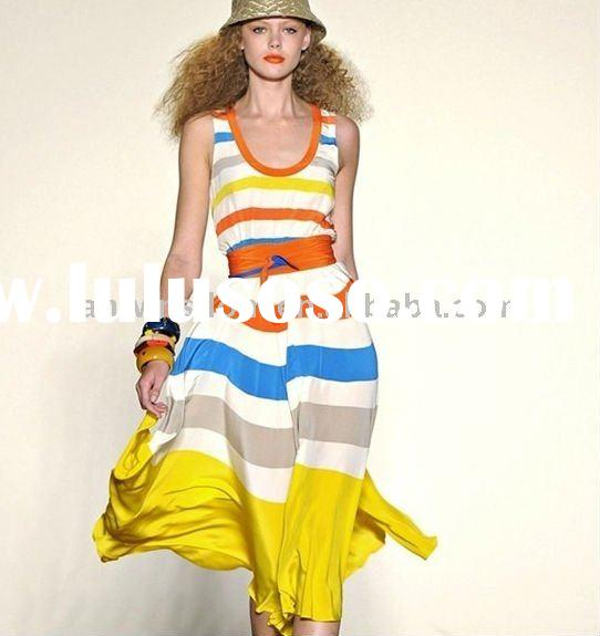 2011 summer BOHO fashion elegant go on holiday rainbow long one-piece skirt/dress