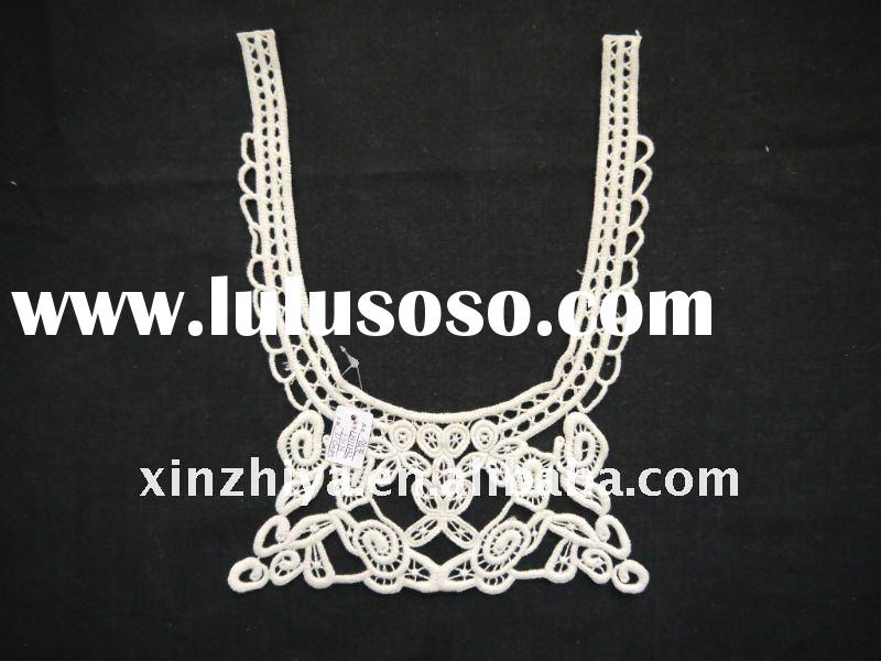2012 Latest small size crocheted collar lace/emboridery cotton lace/garment lace trim LJ11067