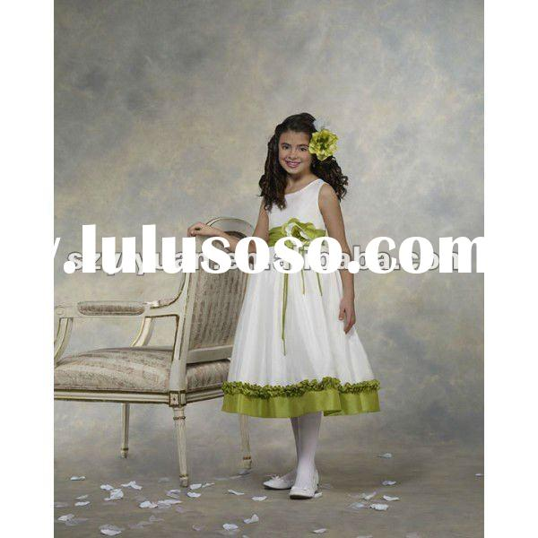 2012 New style ruffles wedding flowers girl dress /gown