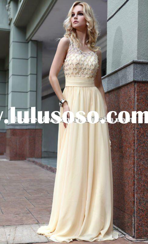 2012 Prom Dress,Light Yellow Sleeveless Lady Formal Prom Dress With Crystals (NBY0DR30827)