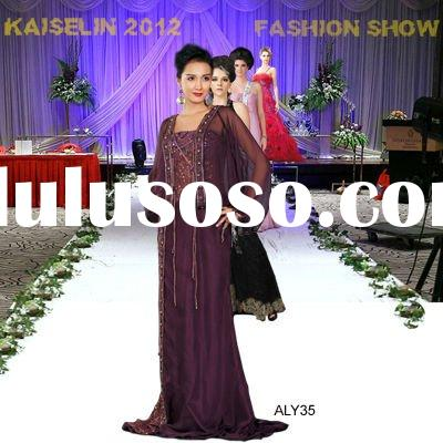 2012 Purple color arabic style croset beaded long sleeve evening dress ALY35