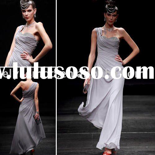 2012 Styles Grey Chiffon Sequined Prom Evening Dress One Shoulder