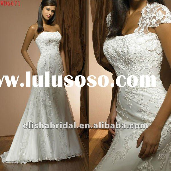 2012 Top Designer Mermaid Cap Sleeve Tulle Royal Long train Lace Open Back Wedding Dress