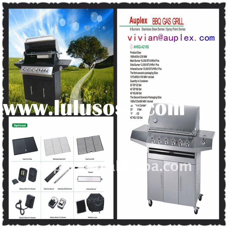 2012 china factory wholesale outdoor stainless steel 6 burners Gas BBQ with back burner