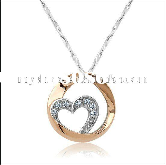 2012 fashion rhinestone heart pendant necklace