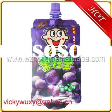 2012 high quality plastic hot sales fruit juice bag with spout