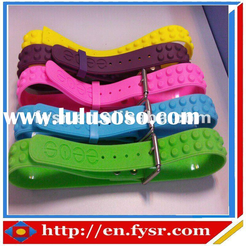 2012 hot fashion studded silicone rubber belt;silicone waist belts;rubber studded belt