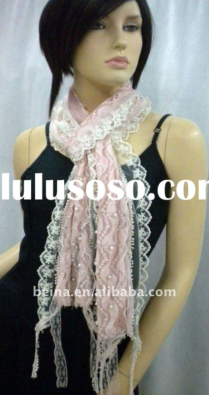 2012 latest new design ladies spring summer 100% cotton lace fashion lady scarf