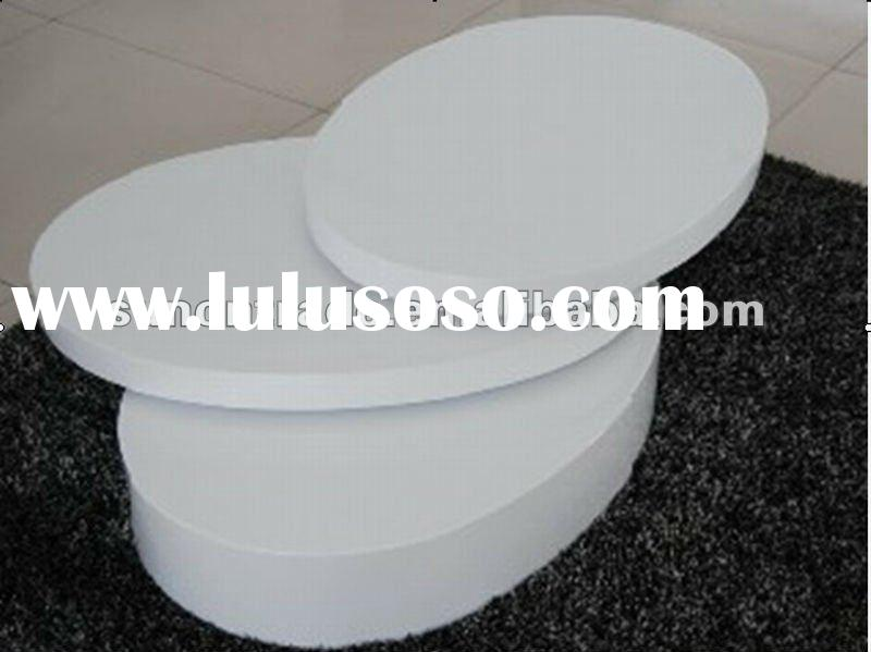 2012 modern rotatable wood coffee table with MDF white painting