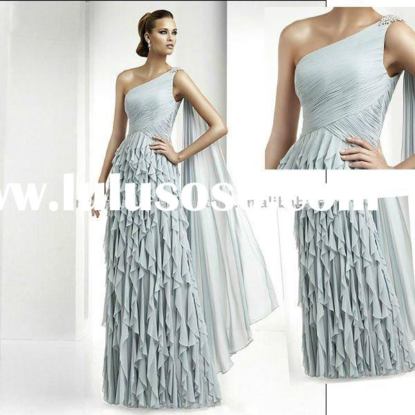 2012 new arrival one shoulder chiffon floor length custom-made evening dress/prom dress CWFae291