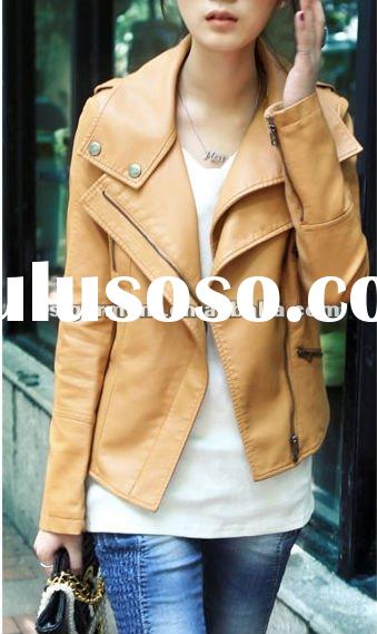 2012 new spring leather jackets for ladies